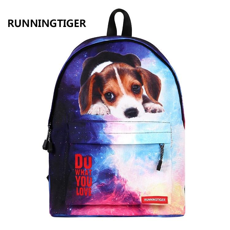 Runningtiger 3D Printing Backpack For Teenage Girls School Backpacks Animal <font><b>Dog</b></font> Cat Printing Bag