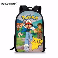 INSTANTARTS Anime Pokemon Schoolbags For Teenager Students Funny Pikachu Print Boys Book Shoulder Bags Casual Children