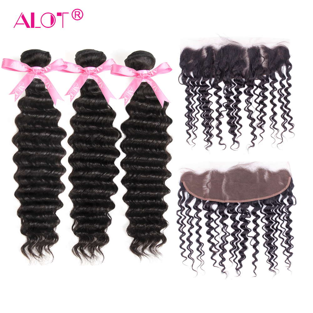 ALot Hair Deep Wave 13*4 Lace Frontal With Bundles Brazilian Human Hair Weave With Ear To Ear Closure Non Remy Natural Color