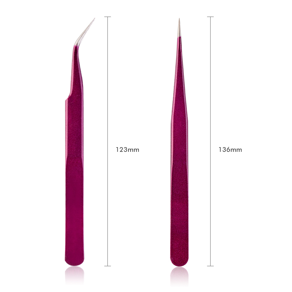 Image 4 - New Eyelash Extension Eyebrow Tweezers Purple Colored Stainless Steel Straight Bend Curved Tweezers Professional Makeup Tools-in Eyebrow Tweezers from Beauty & Health