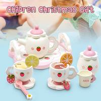 Learning & Education Wooden Cooking set toy For Christmas gift Children's Tea Party Plates Mugs Cup Kids Play Toy Birthday Gift
