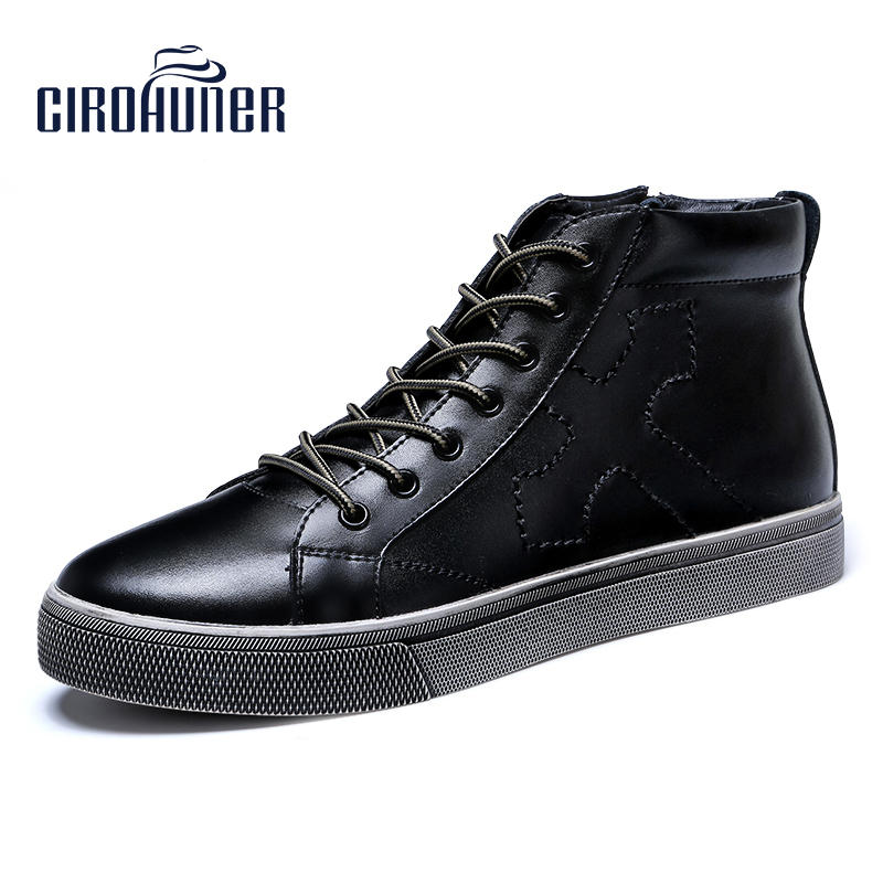 CIROHUNER Winter Men Fashion Retro Shoes Ankle Boots Genuine Leather Zipper Warm Snow Boots With Fur Waterproof boots Men 2018 fashion men ankle boots casual men genuine leather zipper snow boots winter shoes men martin boots black warm boots cc 34