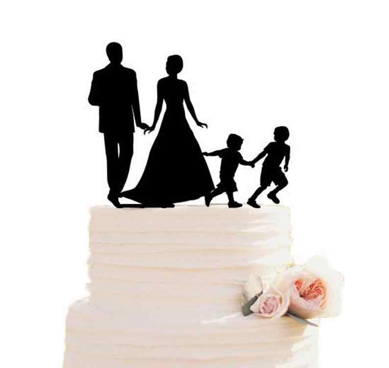 Custom Cake Topper Cake Decor Wedding Ideas Wedding Cake Topper Family Cake Topper With Children Silhouette Topper With 2 Bo Aliexpress