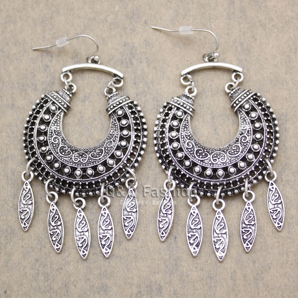 Tibetan Silver Color Carved Moon Vintage Ethnic Drop Dangle Earrings Retail Jewelry Jewellery