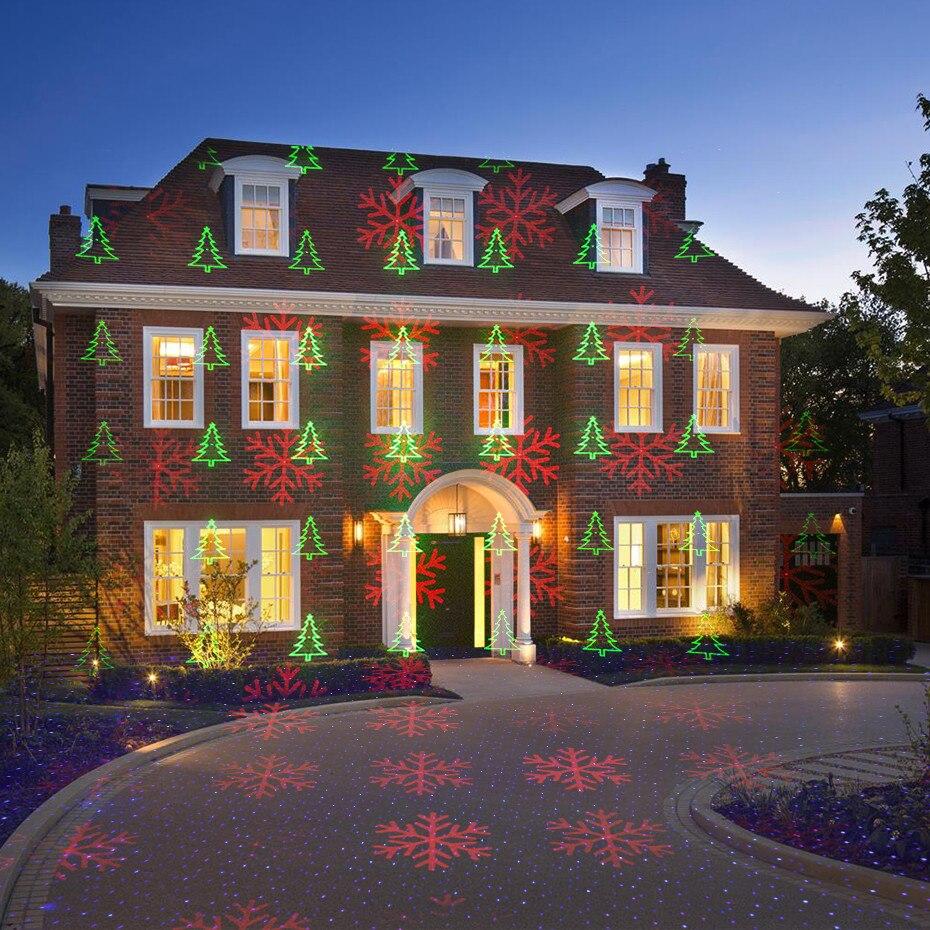 Proyector de luz láser de copo de nieve árbol de Navidad estrella estática remoto RGB exterior impermeable Navidad vacaciones luces de Ducha - 6