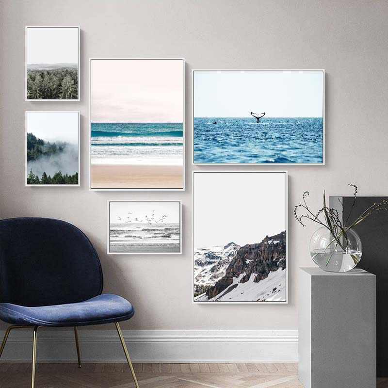 Nature Ocean Beach Landscape Canvas Painting Nordic Style Mountain Wall Art Poster Modern Living Room Decorative Picture