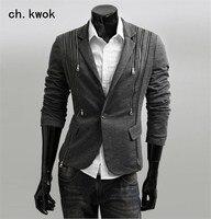 Business Casual Men's Suits One Button Slim Fit Male Blazers Skinny Multi zipper design Male suits Tailor suit Blazer
