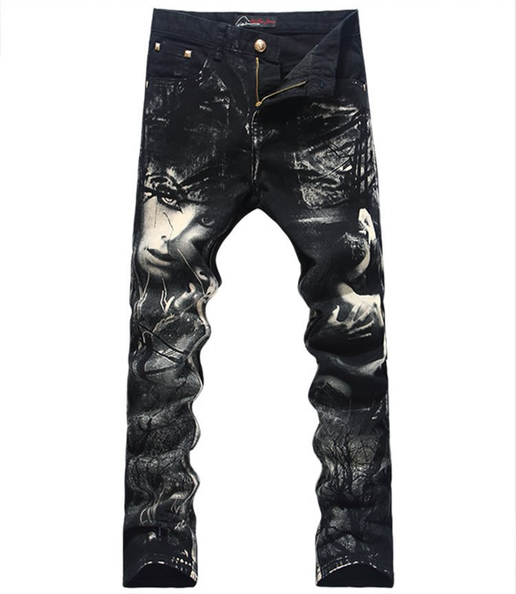 Hot sale  3D Print Men Jeans Fashion Black Slim Pencil Trousers