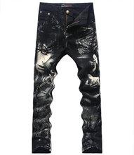Hot sale 3D Print Men Jeans Fashion Black Slim Pencil Trousers