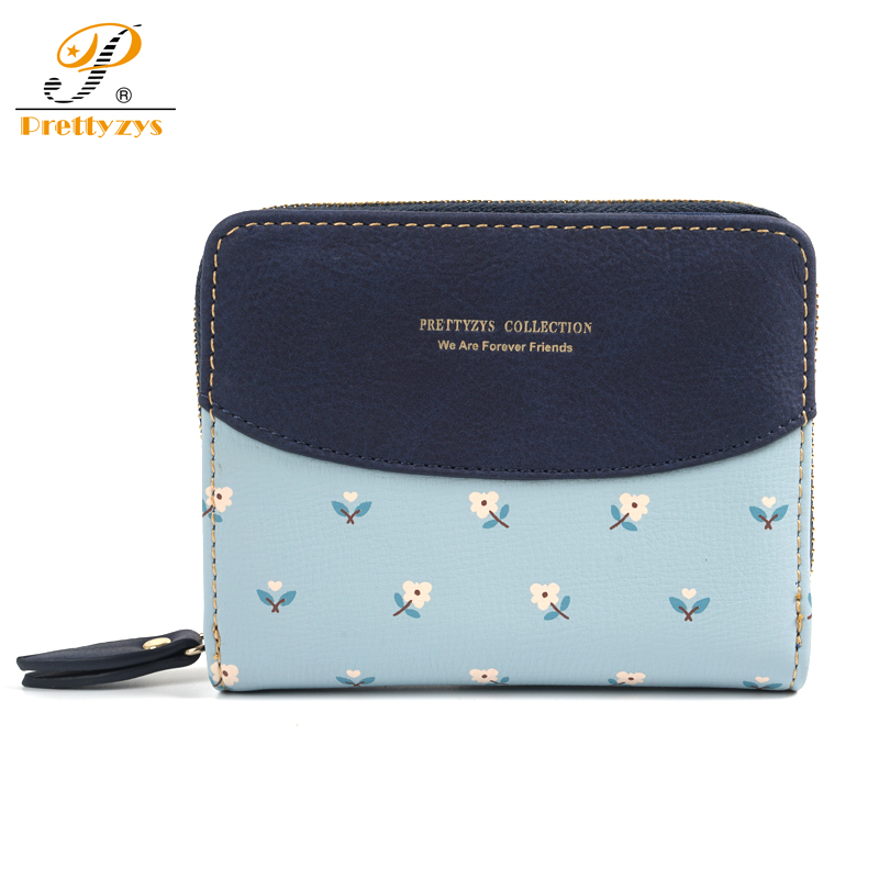 Prettyzys Female Wallet Women Small Purse Short Credit Card Coin Pocket Pu Leather Money Bag Zipper Flower Floral Blue Patchwork