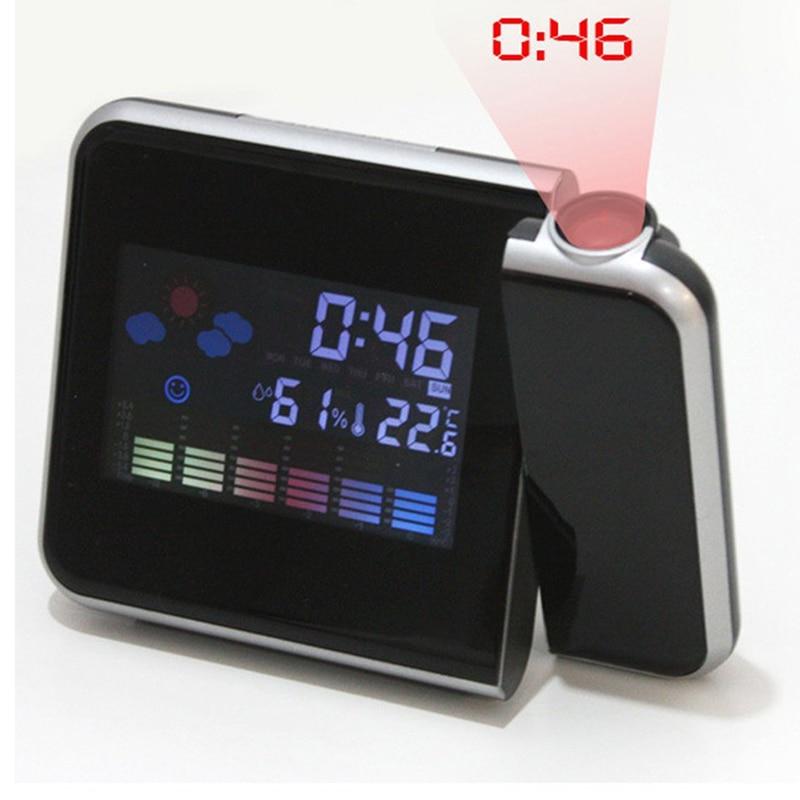 2018 nouvelle mode Attention Projection numérique météo LCD Snooze réveil projecteur couleur affichage LED rétro-éclairage cloche minuterie