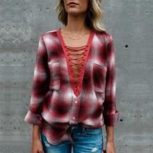 купить Fashion Womens Tops and Blouses Female Plus Size Casual Long Sleeve Pockets OL Ladies Plaid Shirt Top blusas mujer de moda 2019 недорого