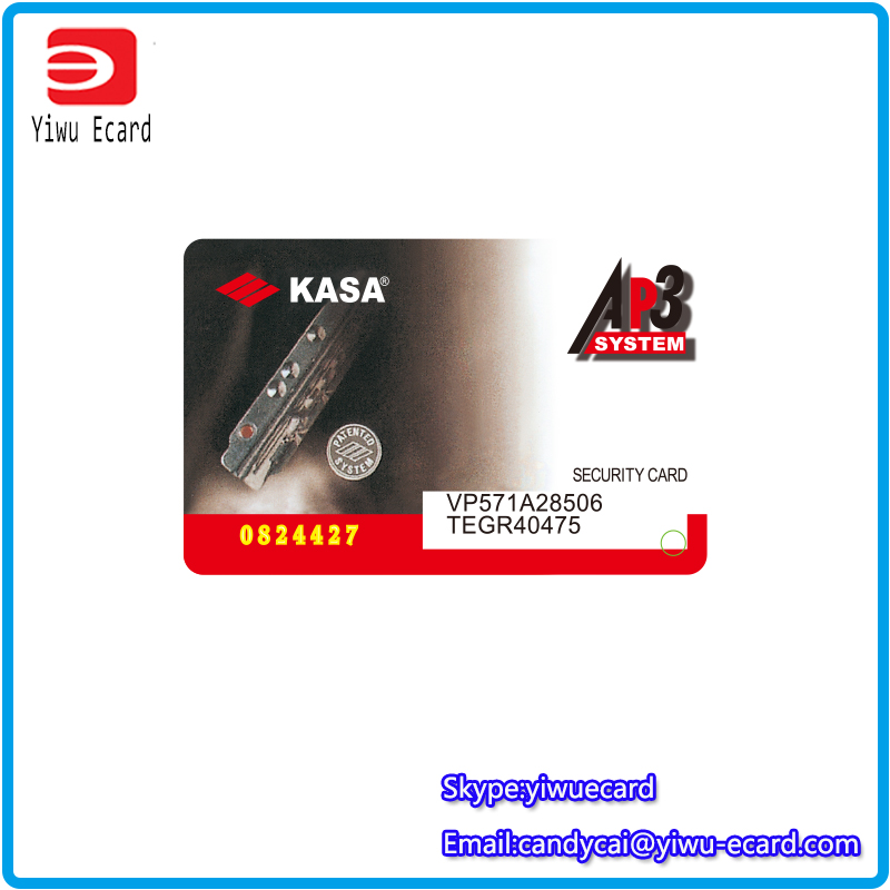 Plastic card printing 0.76mm thickness lock product quality warranty security card printing with key tag
