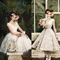 Vintage Tea Length Wedding Dresses White Lace Cap Sleeve V-Neck Ribbon Sash Appliques A-Line 2017 Garden Bridal Gowns LX