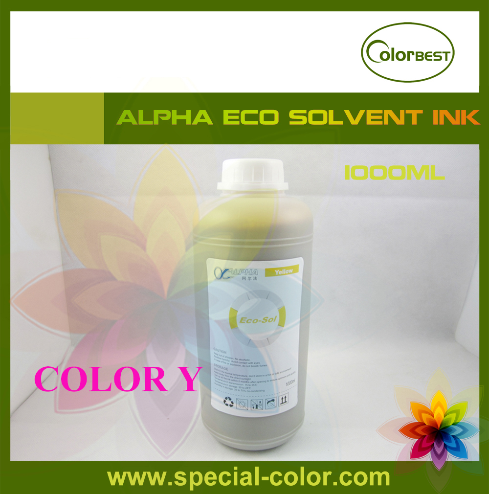 Alpha Printer Eco Solvent Printing Ink 1liter Bulk Ink for Roland/Mimaki/Mutoh Yellow for roland fj540 fj740 fj640 rs640 sj540 sj740 sj640 eco solvent printhead for dx4