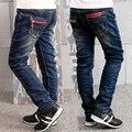 2016 осень зима детская одежда твердые сгущает руно джинсовой ребенка мальчики джинсы для больших детей мальчики причинные джинсы тонкие длинные брюки