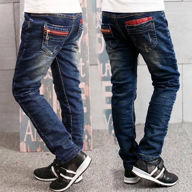 2016 outono inverno crianças roupas sólidos engrosse velo do bebê denim meninos jeans para crianças grandes meninos causais jeans longo fino calças