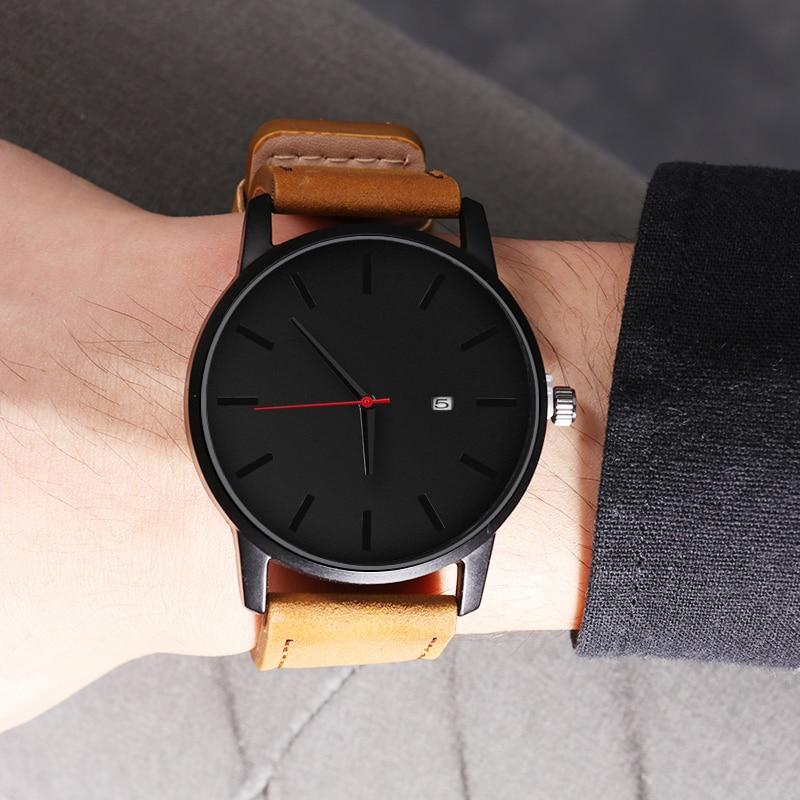 Męskie zegarki sportowe minimalistyczne zegarki męskie zegarki na rękę zegarek ze skórzanym paskiem erkek kol saati relogio masculino reloj hombre 2020 3