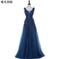 Eveing Dresses 2017 New Arrival Robe De Soiree A Line Sleeveless V Neck Banquet Party Dresses