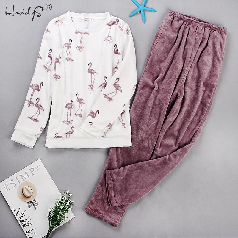 Cartoon Print Women   Pajama     Sets   2019 Autumn Winter   Pajamas   Thick Flannel Warm Women Sleepwear Cute Animal Female Homewear Pijama