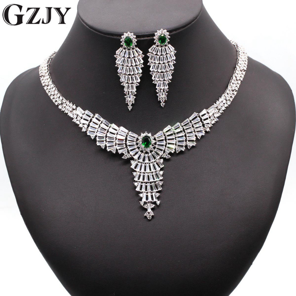 GZJY European Wedding Jewelry White Gold Color Red/green/blue/black Big Statement Zircon Bridal Necklace Earrings Sets 4colors
