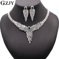 European Zirconia Wedding Jewelry White Gold Plated Ruby Red Green Bule Big Statement CZ Bridal Necklace