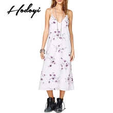 Hodoyi Women Fashion New Autumn Vintage Rose Printed Dress Spaghetti Strap Sexy V-Neck Sleeveless Backless Casual Long Dress