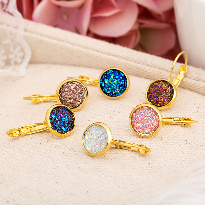 HTB1BPc7aUH1gK0jSZSyq6xtlpXav - ZHOUYANG Earrings For Women Handmade Multicolored Resin Clusters Romantic Imitation Stone Earrngs Jewelry KAE011