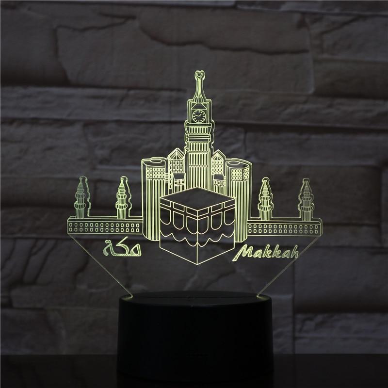 100% De Calidad Meca Mezquita Makka Usb 3d Led Luz De Noche Veilleuse Lámpara Decoración Rgb Niños Regalo De Bebé Edificios Famosos Lámpara De Mesa Cabecera De Neón
