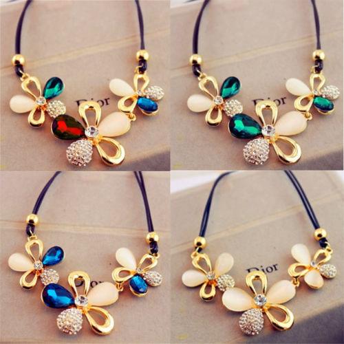 9d9930359aa3 4 colores declaración de moda occidental elegante cadena reciente  Rinestones gato de piedra colgante collar de