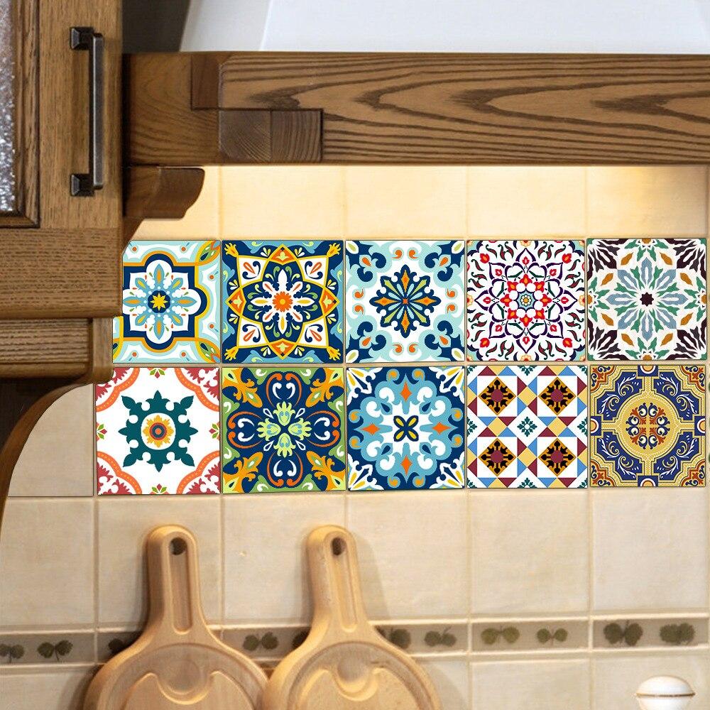 Funlife Mediterranean Retro Self adhesive Tiles Sticker ...