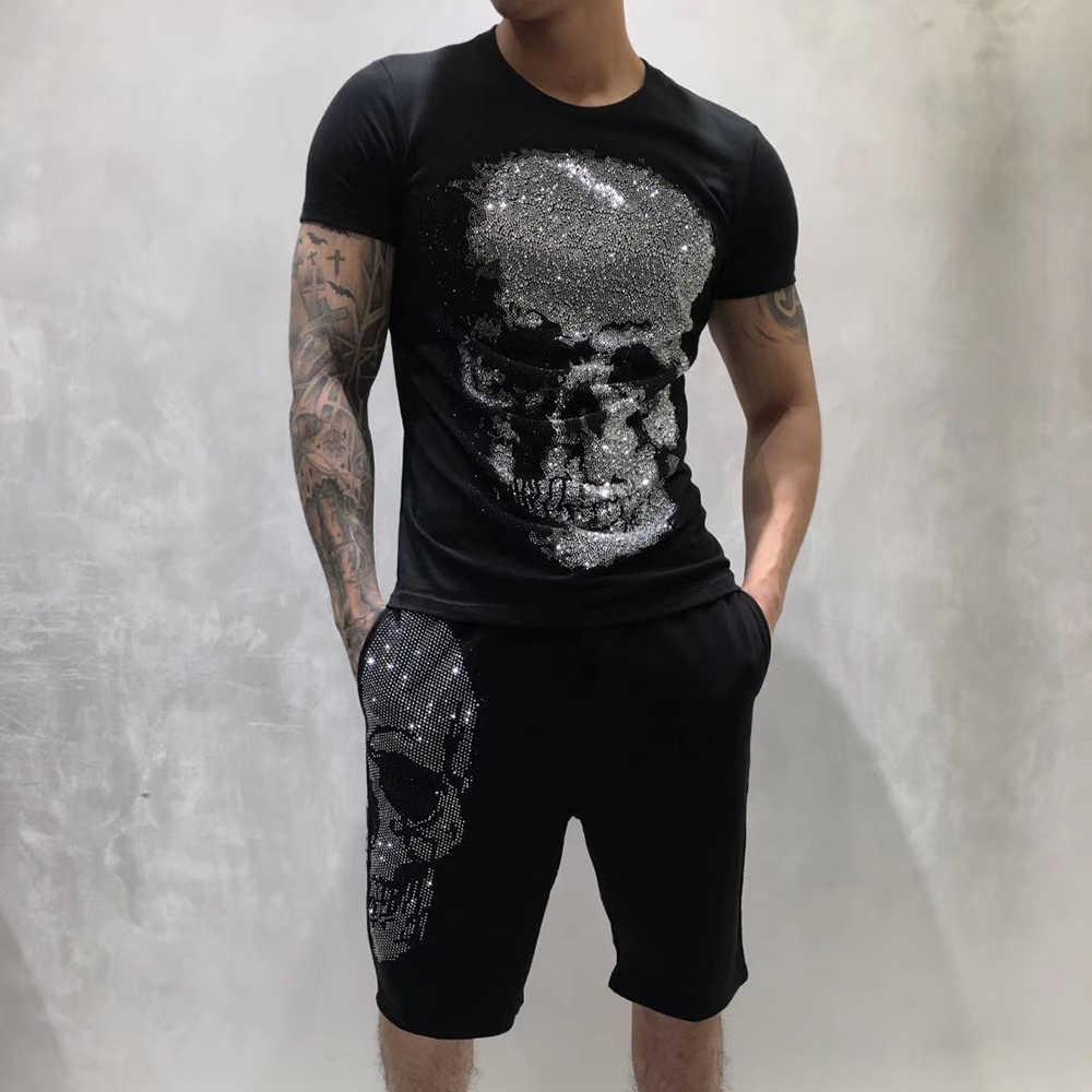 PPFRIEND di Cristallo Grande Del Cranio Degli Uomini Tshirt casual Girocollo Manica Corta Magliette Maschio Bianco Nero 100% Cotone T shirt Mens magliette e camicette PP 9061