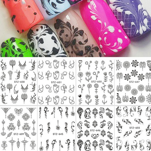 Simple Flower Manicure Nail Art Sticker Pendant Diy Nail Decal Wraps