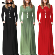 Missufe High Split Maxi Wrap Dress 2017 Autumn Winter Style Fashion Casual Outfit Sarafan Beach Women's Retro Long Dress