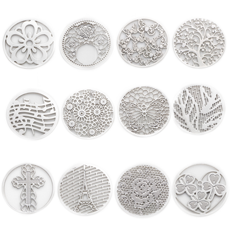 2016 Hot sale 22mm new design 10pcs Round Window Plate Charms Silver Floating Plates fit 30mm Glass Locket , WS-13-01