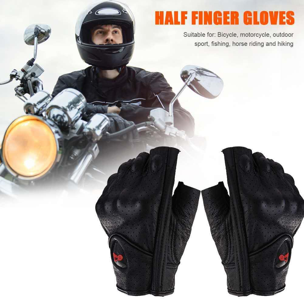 Image 3 - Motorcycle Gloves Leather Summer Breathable Half Finger Gloves Unisex Mitt Fingerless Glove For Men Women Scooter Moto Mitten-in Gloves from Automobiles & Motorcycles