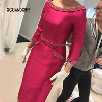Elegant Satin Sheath Mother of Bride Dress 2019 Scoop Three Quarter Sleeves Beading Pearls Woman Formal Wedding Party Gown