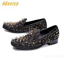 a8122ebe Hombres de lujo diseñador de alta calidad Punk rock negro remache planos  oxfords zapatos Homecoming hombre boda baile Formal ves.