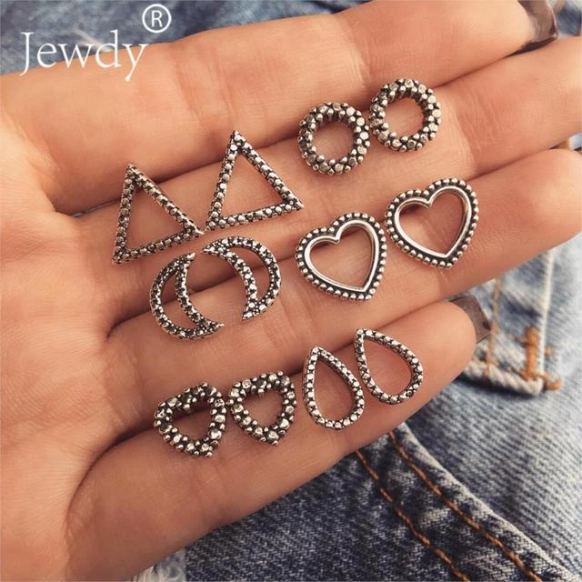 6 Pairs/Set Bohemian Hollow Out Heart Moon Round Water drop Geometry Pattern Silver Earrings Women Charm Party Jewelry Wedding