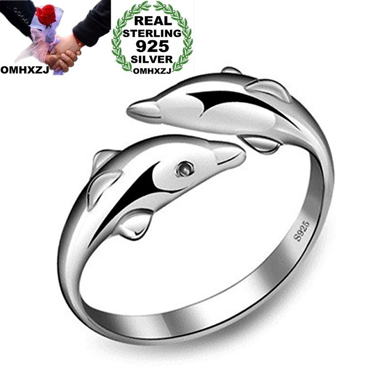 OMHXZJ Wholesale Personality Fashion OL Woman Girl Party Wedding Gift Silver Dolphin Open S925 Sterling Silver Ring RN279