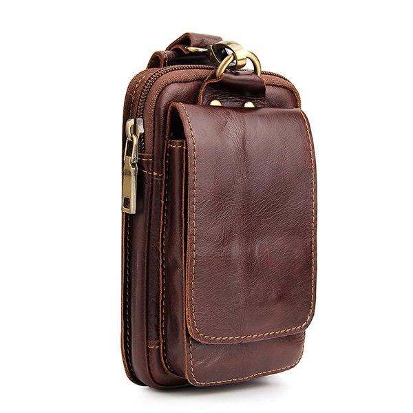 YICHENG 100% Genuine Leather Men's Waist Packs Phone Pouch Bags Waist Bag Male Small Shoulder Travel Belt Bag Small Waist Packs