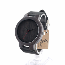 BOBO de AVES C22 Vogue Mens Relojes De Madera Hechos A Mano Reloj de Pulsera de Cuarzo Con Correa de Cuero Negro Horloges Mannen 2016