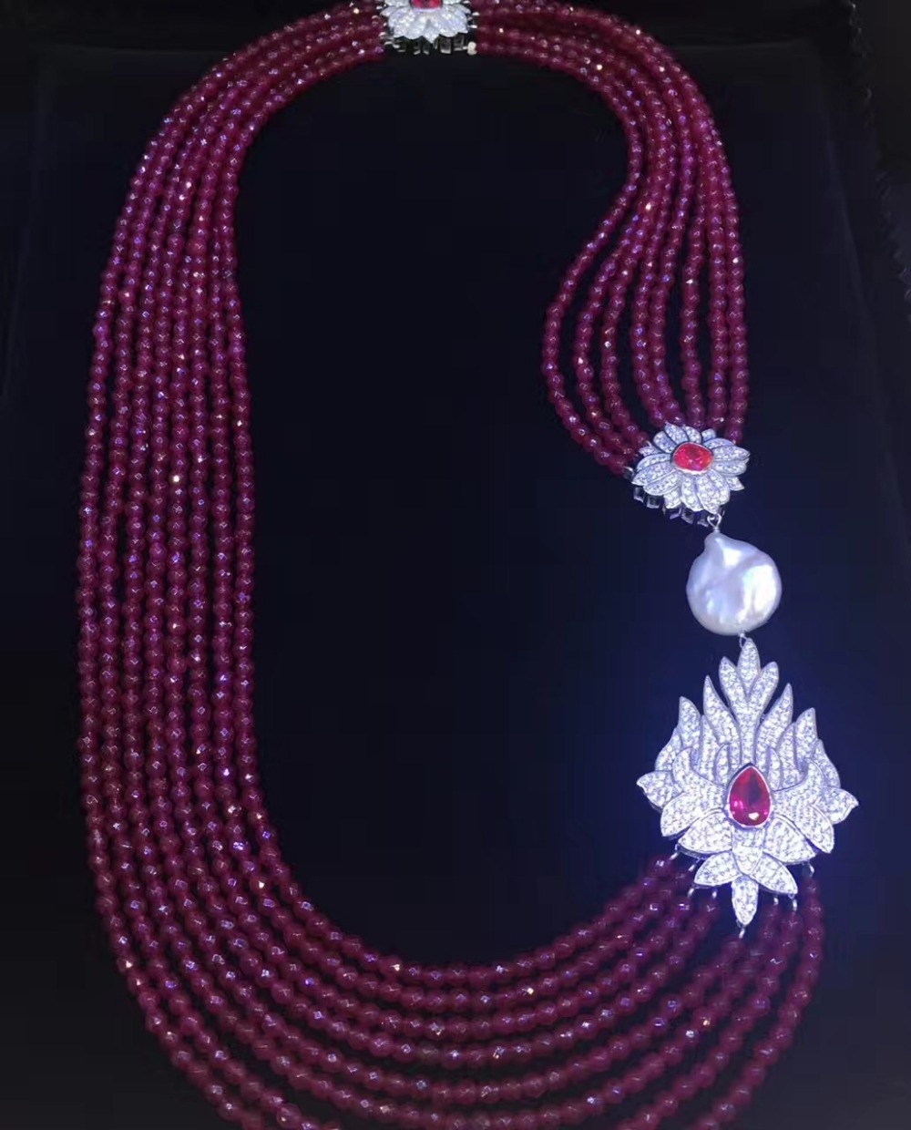 red color natural semi-precious stone necklace multi layers 925 sterling silver with cubic zircon and fresh water pearl fashion red color natural semi precious stone necklace multi layers 925 sterling silver with cubic zircon and fresh water pearl fashion