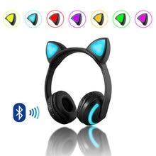 Auriculares de gato con orejas, inalámbricos por Bluetooth, auriculares estéreo con luces LED parpadeantes de 7 colores para niños y niñas