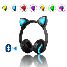 Cute Cat Headphones with Ear Wireless 7 Colors LED Flashing Glowing Headset Stereo Bluetooth Headphone for Kids Girl
