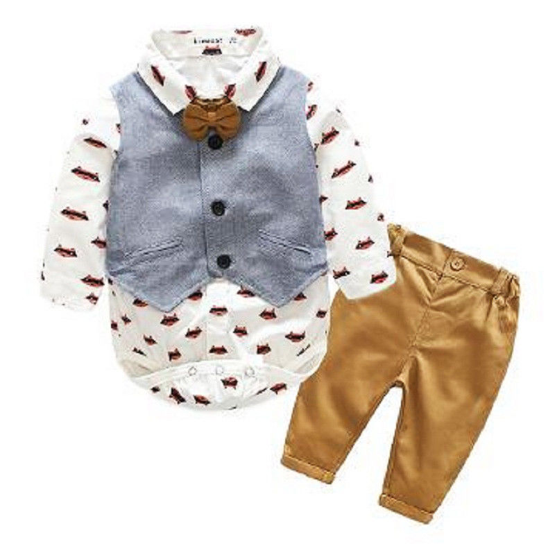 Newborn Baby Boy Formal Suit Waistcoat Tops Bodysuit Pants Tuxedo Casual Outfit Set 0-24Month