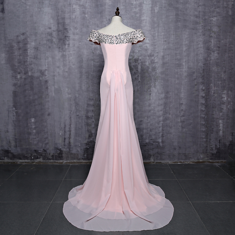 Cap Sleeves Satin Beaded Crystals Mermaid Bridesmaid Dress