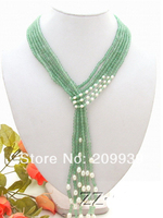 Hot sell Noble FREE SHIPPING>>>@@ AS3520 3Strds 50 White Pearl&Round Aventurine Necklace