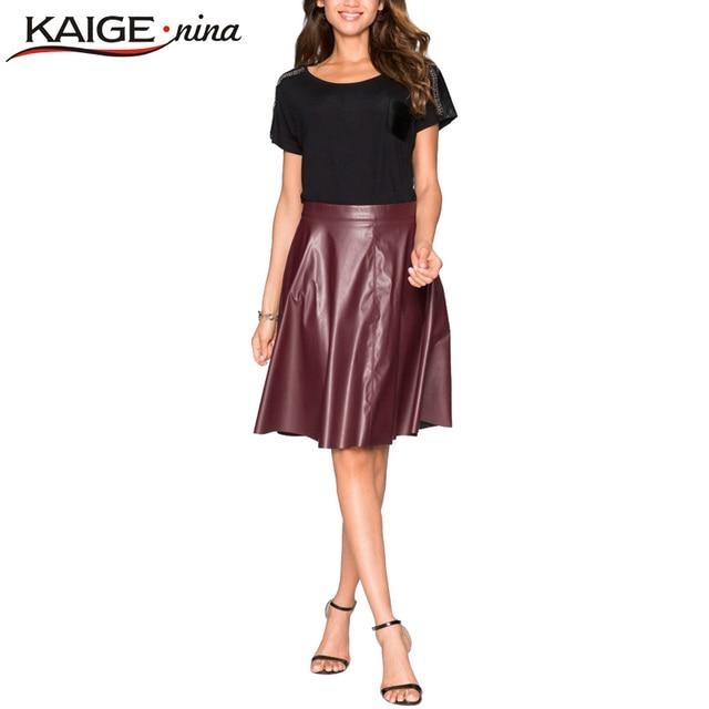 KAIGE NINA Women Fashion Solid PU Leather Skirt Pleated 2 Colors Sexy Women Autumn Skirt Knee-length High Waist Skirt 2166