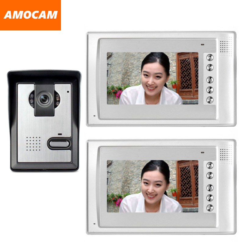 7 Monitor Video Doorbell Door Phone Kit IR Night Vision Door Camera Video Intercom video interphone 2-Monitor for home villa 2 7inch indoor monitor wifi wireless video door phone intercom doorbell ip camera pir ir night vision home alarm system remote